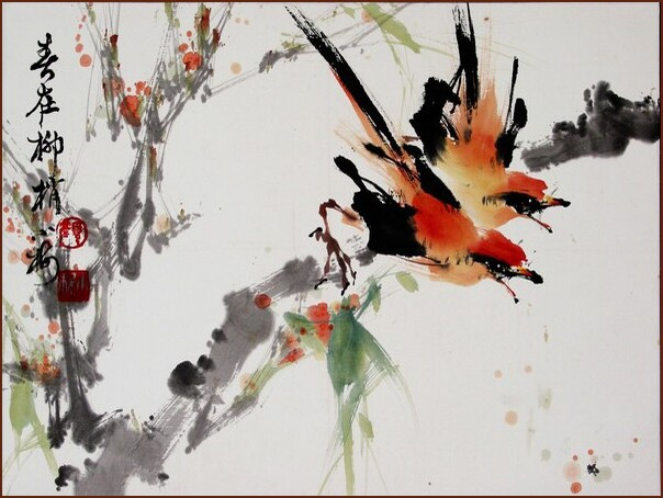 Japaniese Water Painting Style Wallpaper